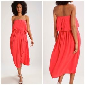 Gap Hula Red Tie Belt Strapless Crepe Dress